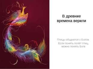 В древние времена верили Птицы общаются с Богом. Если понять полёт птиц, можн
