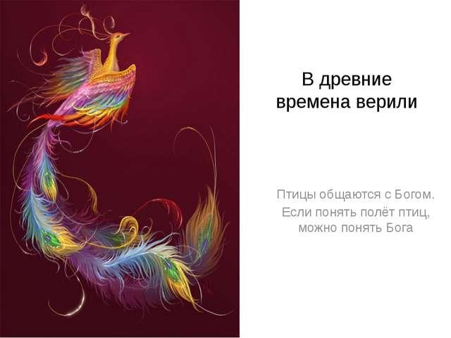 В древние времена верили Птицы общаются с Богом. Если понять полёт птиц, можн...