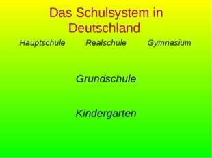 Das Schulsystem in Deutschland HauptschuleRealschuleGymnasium Grundschule