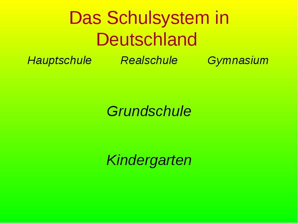 Das Schulsystem in Deutschland HauptschuleRealschuleGymnasium Grundschule...