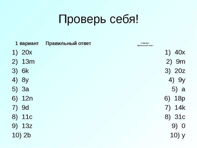 Проверь себя! 1 вариант Правильный ответ 20x 13m 6k 8y 3a 12n 9d 11c 13z 2b 2...