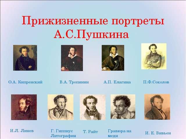 Прижизненные портреты А.С.Пушкина О.А. Кипренский П.Ф.Соколов В.А. Тропинин А...