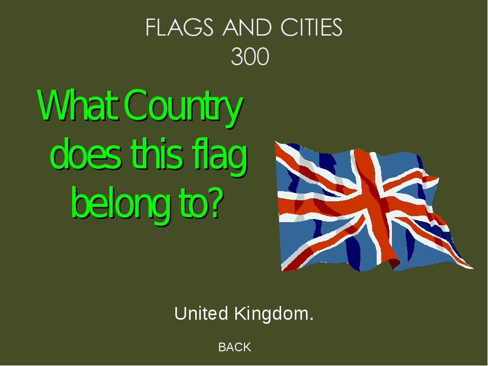 BACK United Kingdom. What Country does this flag belong to?