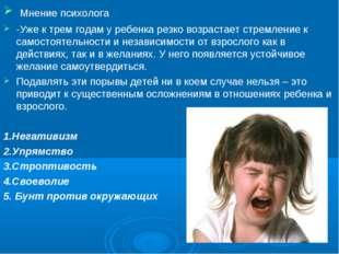 Мнение психолога -Уже к трем годам у ребенка резко возрастает стремление к с