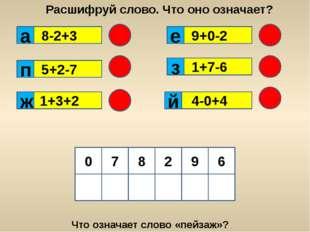 8-2+3 5+2-7 9+0-2 1+7-6 1+3+2 4-0+4 Расшифруй слово. Что оно означает? 9 0 8