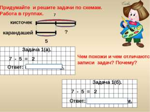 Придумайте и решите задачи по схемам. Работа в группах. Задача 2. Задача 1(а)