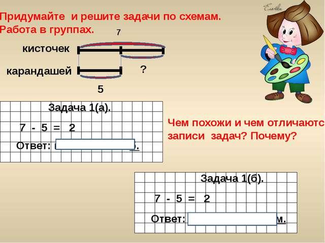 Придумайте и решите задачи по схемам. Работа в группах. Задача 2. Задача 1(а)...