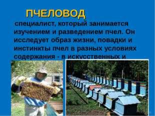 ПЧЕЛОВОД специалист, который занимается изучением и разведением пчел. Он иссл