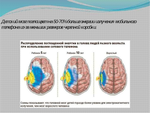 Детский мозг поглощает на 50-70% больше энергии излучения мобильного телефона...
