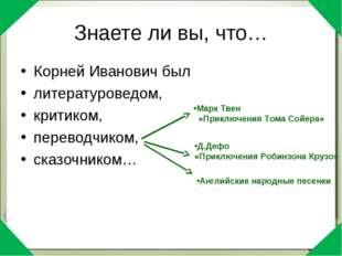 Знаете ли вы, что… Корней Иванович был литературоведом, критиком, переводчико