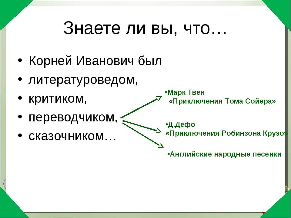 Знаете ли вы, что… Корней Иванович был литературоведом, критиком, переводчико...