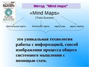 «Mind Maps» (Тони Бьюзен) это уникальная технология работы с информацией, спо