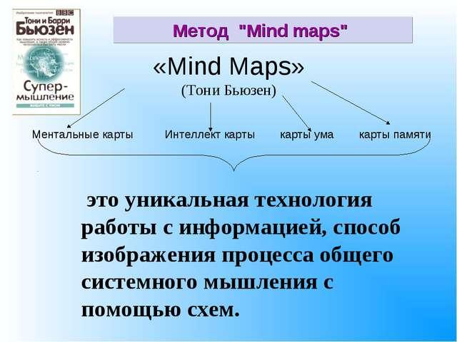 «Mind Maps» (Тони Бьюзен) это уникальная технология работы с информацией, спо...