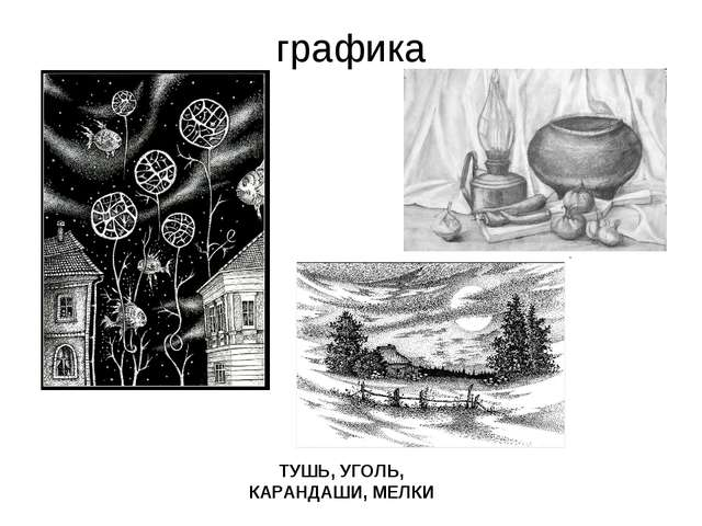 графика ТУШЬ, УГОЛЬ, КАРАНДАШИ, МЕЛКИ