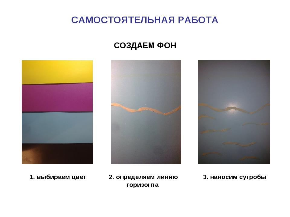 САМОСТОЯТЕЛЬНАЯ РАБОТА 2. определяем линию горизонта 1. выбираем цвет 3. нано...