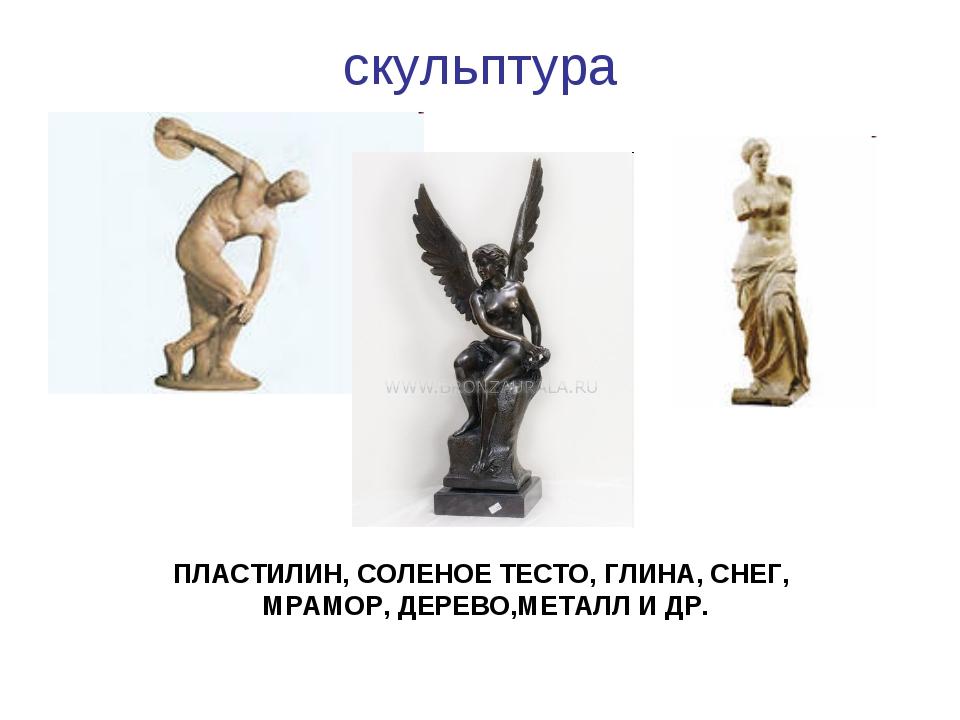 скульптура ПЛАСТИЛИН, СОЛЕНОЕ ТЕСТО, ГЛИНА, СНЕГ, МРАМОР, ДЕРЕВО,МЕТАЛЛ И ДР.