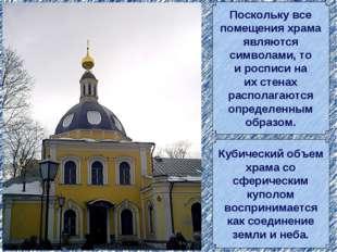 Поскольку все помещения храма являются символами, то и росписи на их стенах р