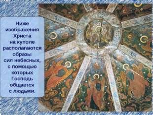 Ниже изображения Христа на куполе располагаются образы сил небесных, с помощь