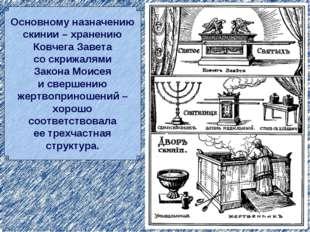 Основному назначению скинии – хранению Ковчега Завета со скрижалями Закона Мо