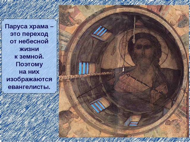 Паруса храма – это переход от небесной жизни к земной. Поэтому на них изображ...