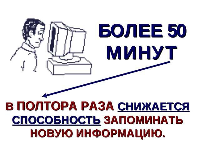 БОЛЕЕ 50 МИНУТ В ПОЛТОРА РАЗА СНИЖАЕТСЯ СПОСОБНОСТЬ ЗАПОМИНАТЬ НОВУЮ ИНФОРМАЦ...