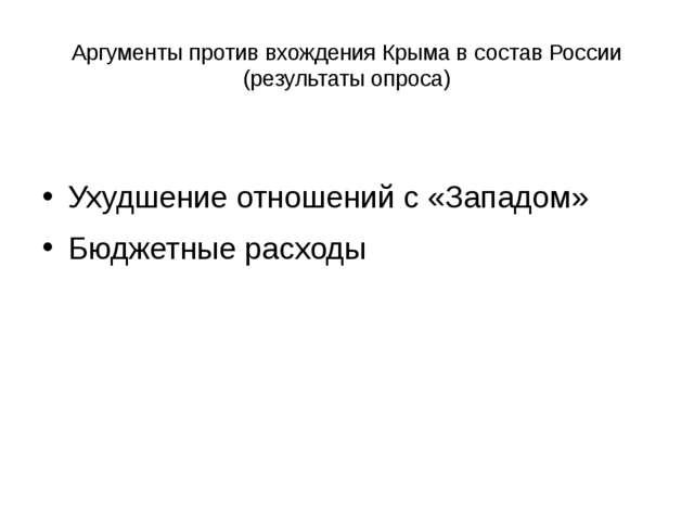 Аргументы против вхождения Крыма в состав России (результаты опроса) Ухудшени...