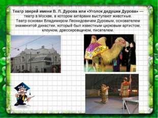 Театр зверей имени В. Л. Дурова или «Уголок дедушки Дурова» — театр в Москве,