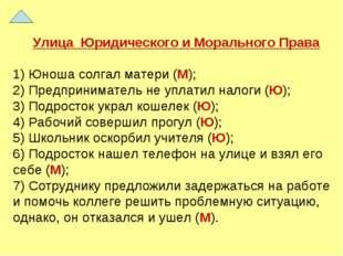 Улица Юридического и Морального Права 1) Юноша солгал матери (М); 2) Предприн