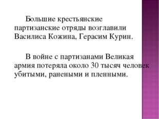 Большие крестьянские партизанские отряды возглавили Василиса Кожина, Гер