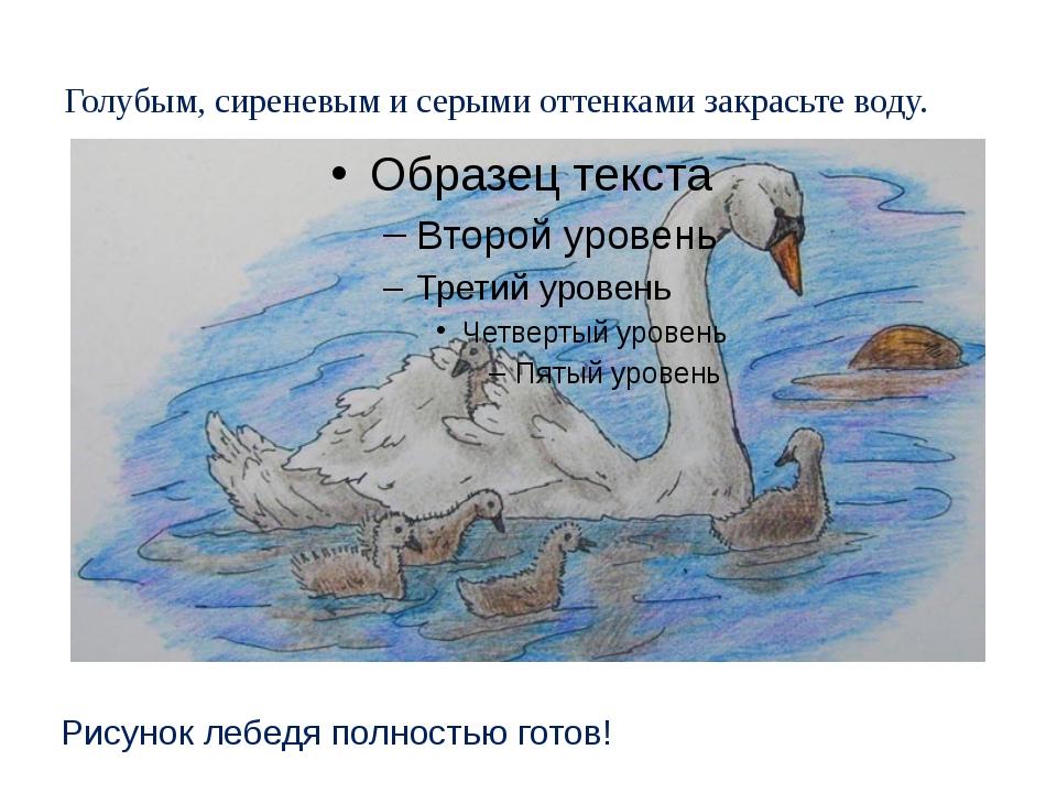 Голубым, сиреневым и серыми оттенками закрасьте воду. Рисунок лебедя полность...