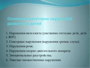 Основные категории нарушений развития у детей 1. Нарушения интеллекта (умстве