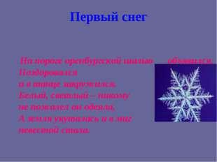 Первый снег На пороге оренбургской шалью объявился, Поздоровался и в танце за