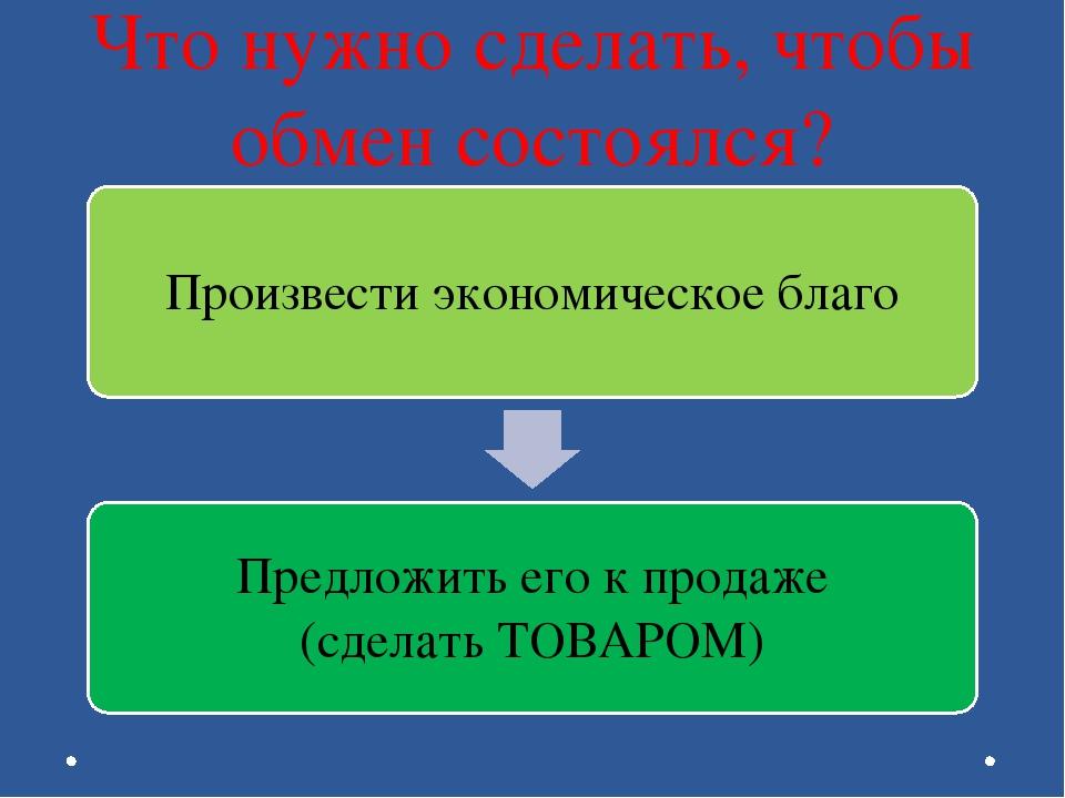 Что нужно сделать, чтобы обмен состоялся?