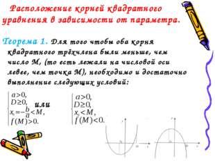 Расположение корней квадратного уравнения в зависимости от параметра. Теорем