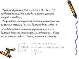 График функции ƒ(х) = х²+4сх + (1 – 2с + 4с²) представляет собой параболу, в