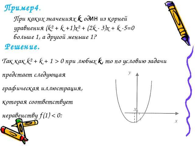 Пример4. При каких значениях k один из корней уравнения (k² + k +1)x² + (2k...
