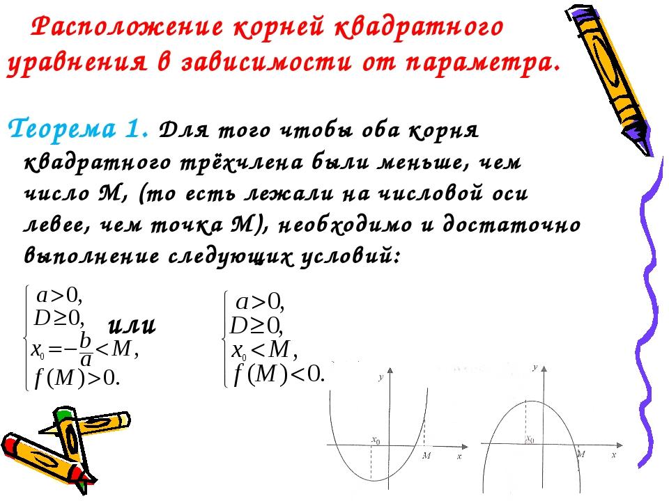 Расположение корней квадратного уравнения в зависимости от параметра. Теорем...