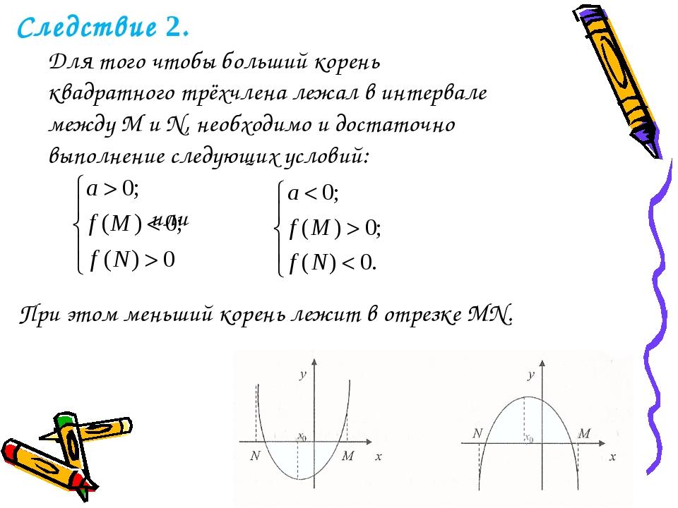 Следствие 2. Для того чтобы больший корень квадратного трёхчлена лежал в инт...