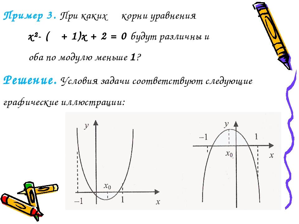 Пример 3. При каких α корни уравнения x²- (α + 1)x + 2 = 0 будут различны и о...