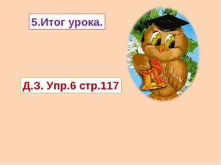 5.Итог урока. Д.З. Упр.6 стр.117