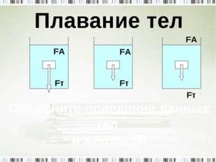 Плавание тел Fт Объясните поведение данных тел в жидкости Fт FА Fт FА FА