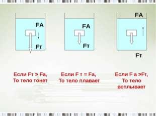 Если Fт > Fа, То тело тонет Если F т = Fа, То тело плавает Если F а >Fт, То т
