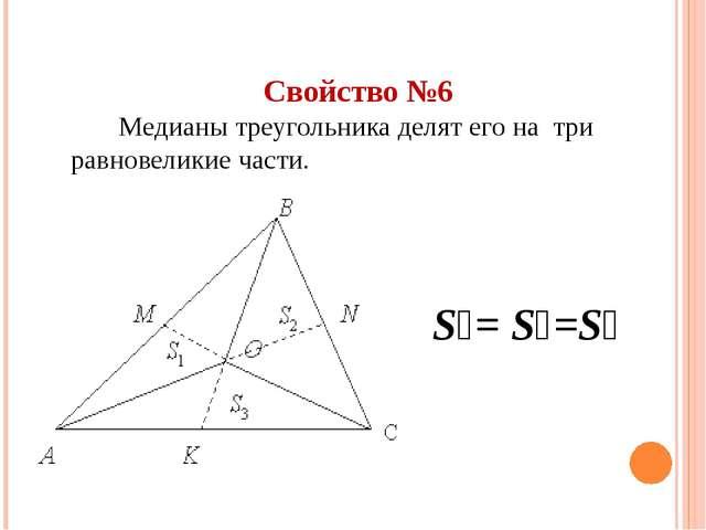 Свойство №6 Медианы треугольника делят его на три  равновеликие части. S₁= S...