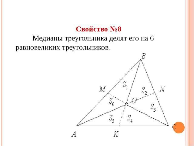 Свойство №8 Медианы треугольника делят его на 6 равновеликих треугольников.
