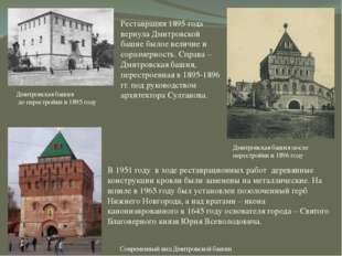 Дмитровская башня до перестройки в 1895 году Реставрация 1895 года вернула Дм