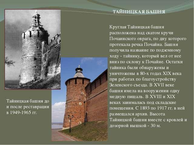 Тайницкая башня до и после реставрации в 1949-1965 гг. ТАЙНИЦКАЯ БАШНЯ Кругла...