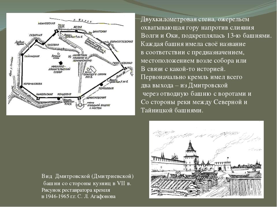 Вид Дмитровской (Дмитриевской) башни со стороны кузниц в VII в. Рисунок рест...