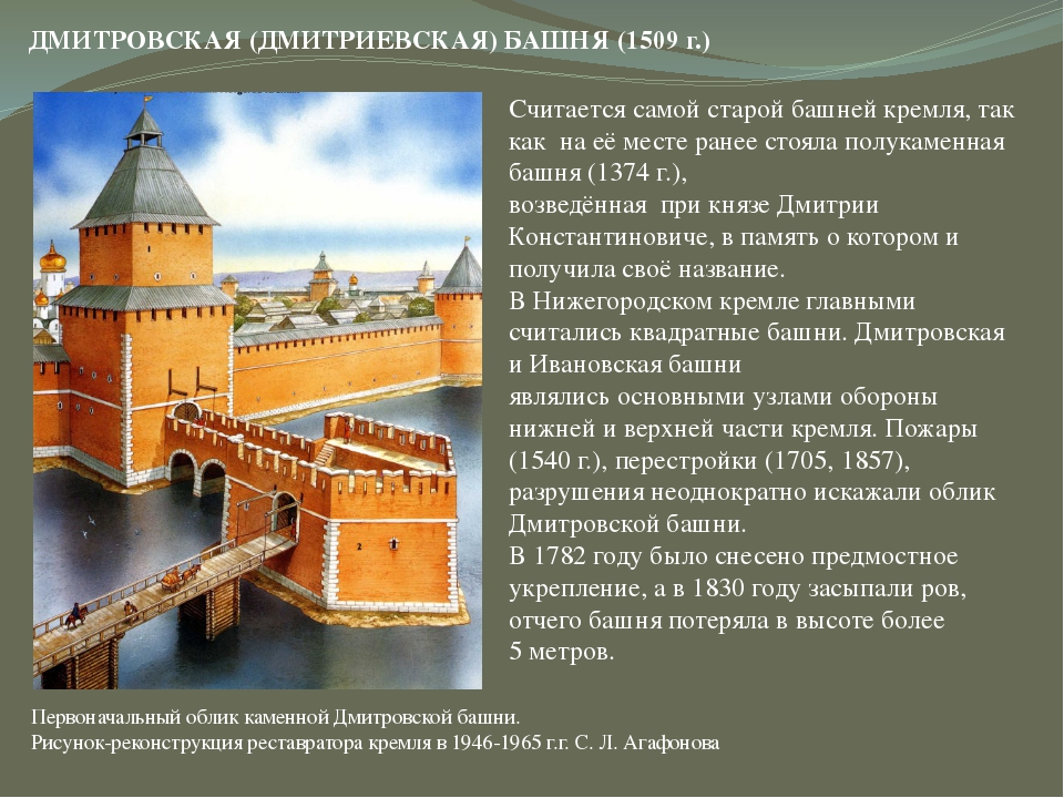 Считается самой старой башней кремля, так как на её месте ранее стояла полука...