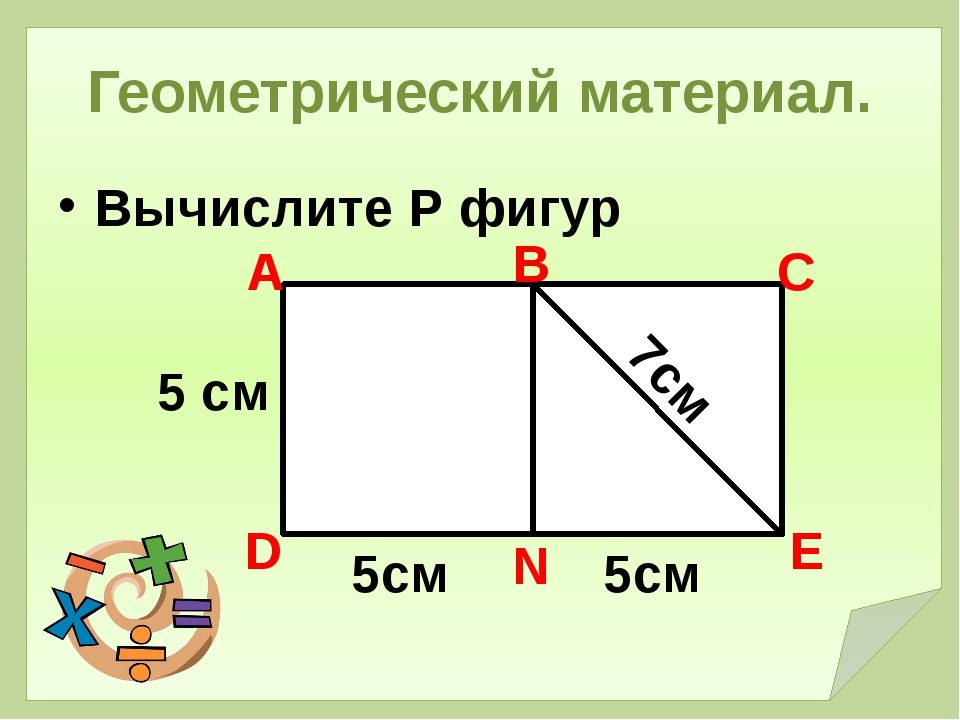 Геометрический материал. Вычислите Р фигур 5 см А В С Е N D 5см 5см 7см