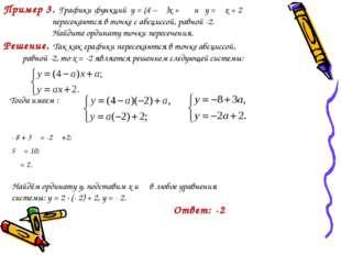 Пример 3. Графики функций у = (4 – α)x + α и у = αx + 2 пересекаются в точке